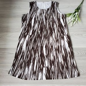 CALVIN KLEIN white and brown patterned swing dress